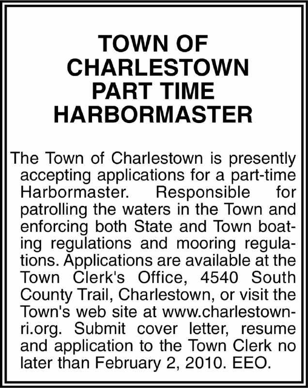job details part time harbormaster