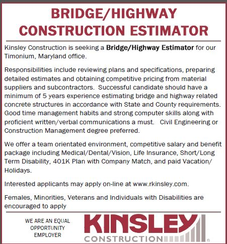 Job Details | Bridge/Highway Construction Estimator at