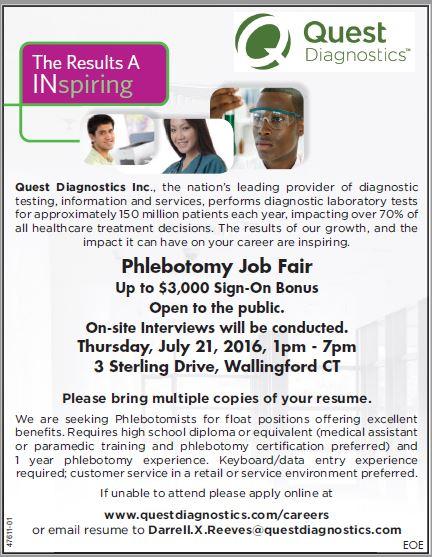 Job Details | Phlebotomy Job Fair at Quest Diagnostics Inc