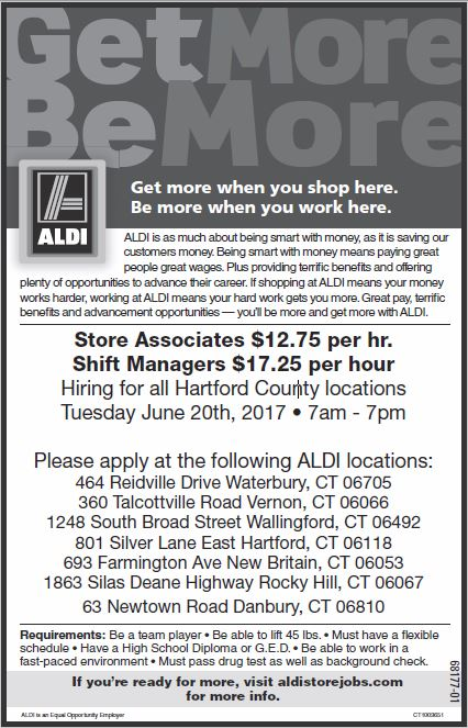 Job Details   Hiring for all Hartford County locations at Aldi